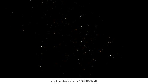 Flying dust particles on a black background. 3D rendering