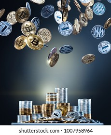 Flying and falling bitcoins and litecoins over stacks of different gold and silver coins. Digital monitoring, checking and money exchange cryptocurrency concept. High resolution photo.