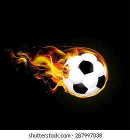 Flying fiery ball on black background illustration