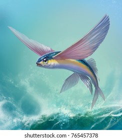 Flying fish jumping and flying