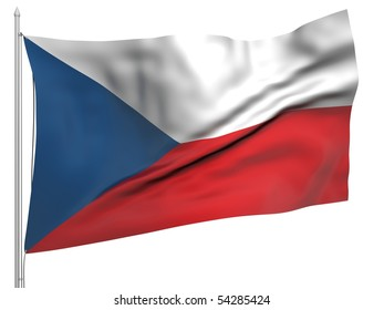 Flying Flag of Czech Republic - All Countries Collection.