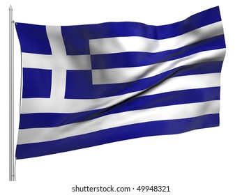 Flying Flag of Greece - All Countries Collection. To view full set - search ?38flagstaff?
