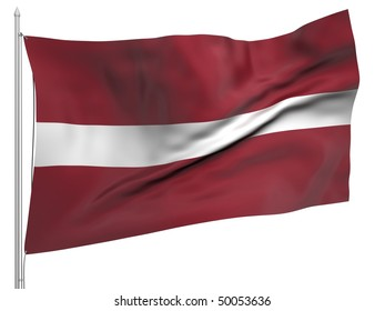 Flying Flag of Latvia - All Countries Collection. To view full set - search ?38flagstaff?