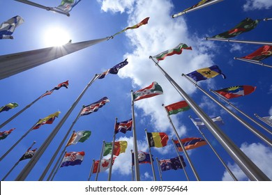 Is flying the flag of the nations of the world