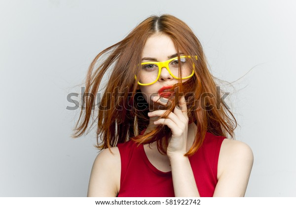 Flying fluttering red hair woman