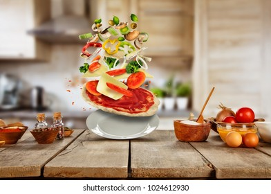 Flying food ingredients with pizza. Concept of italian kitchen and modern cooking. Very high resolution image