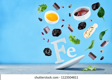 Flying foods rich in iron. Healthy eating