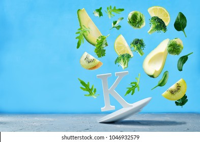 Flying foods rich in vitamin k. Green vegetables. Healthy eating