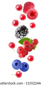 Flying fresh berries isolated on white background