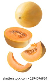 Flying fresh melon fruit isolated on white background with clipping path as package design element and advertising. Full depth of field.