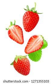 Flying fresh strawberries isolated on white background