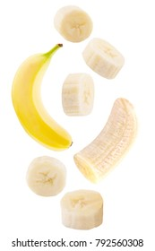 Flying fruit. Falling banana fruits isolated on white background with clipping path as package design element.