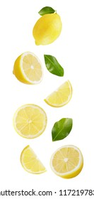 Flying fruits. Falling lemon isolated on white background with clipping path as package design element and advertising. Floating fruits in the air.