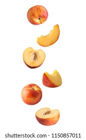 Flying fruits. Falling peach isolated on white background with clipping path as package design element and advertising. Floating fruits in the air.