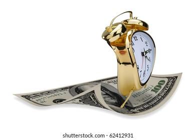 Flying golden alarm clock.