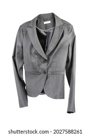 Flying grey jacket on white background