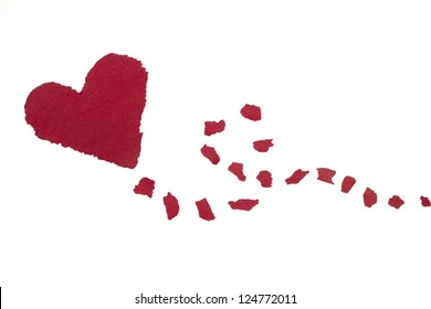 Flying Heart, Construction Paper, Isolated on White