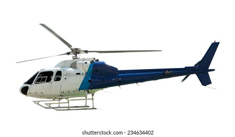 Flying helicopter, isolated on white