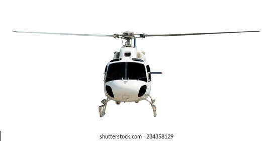 Flying helicopter with working propeller, isolated on white