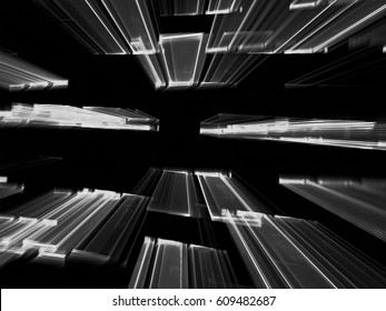 Flying to the horizontal rectangles - chaos fractal background. Abstract computer-generated blurred image in technology style. For web design, covers, posters.