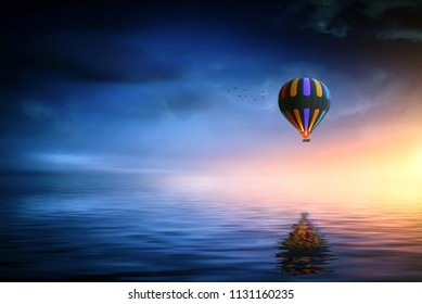Flying hot air balloon backgrond image for wallpaper. 4K HD background image.