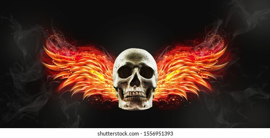 flying human skull in with fire wings on dark background