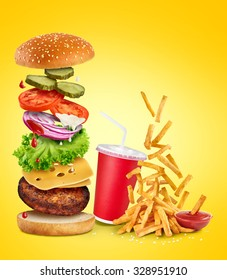 Flying ingredients of hamburger, fried potatoes, ketchup and paper cup.