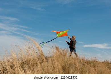 Flying a kite. A boy with a kite against the blue sky. Flying, sunny day. Yellow grass.