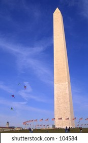 Flying Kites on the mall at the Washington Monument, Washington, DC