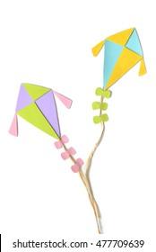 Flying kites on white background - isolated