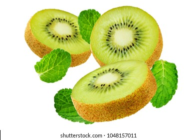 Flying Kiwi with mint leaves on a white background. tinting. selective focus