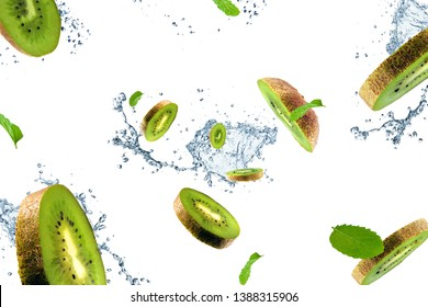Flying kiwi on white background. Kiwi in motion. Tropical fruit concept.