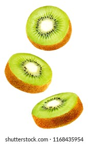 Flying Kiwi slices isolated. tinting. selective focus
