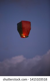 A flying lantern is separated from other hundreds during Waisak celebration of Javanese Hindu holy day