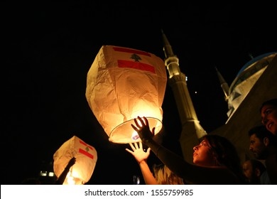 Flying Lanterns in Beirut, Lebanon - November 11, 2019: Martyrs' Square during the Lebanese Revolution, against the current government, and against corruptions in the country.