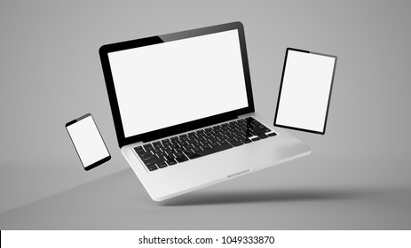 flying laptop, mobile and tablet 3d rendering