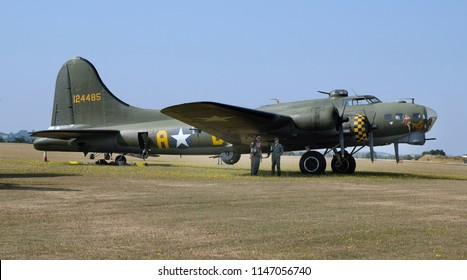 Flying Legends air show, Imperial War Museum, Duxford, Cambridgeshire. UK.14-15 July 2018. American Boeing B17G Flying Fortress, Sally B. Used as Memphis Belle in the film.
