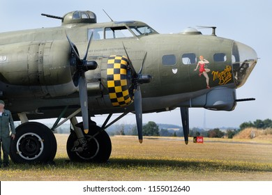 Flying Legends air show, Imperial War Museum, Duxford, Cambridgeshire. UK.14-15 July 2018. Boeing B17G flying Fortress, sally B which was Memphis belle in the film of that name.