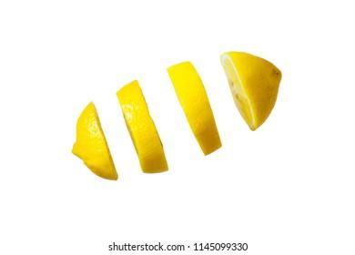 Flying lemon. Sliced lemon isolated on white background. Levity fruit floating in the air.