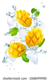 Flying Mango slices with ices and mint leaves on a white background. tinting. selective focus