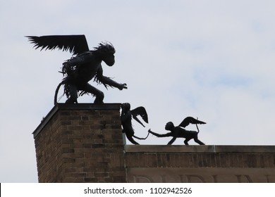 Flying monkeys on the roof tops