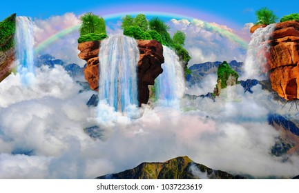 Flying Mountain With A Waterfall 3D Wallpaper For Interior Rendering