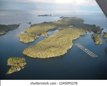 Flying near a fish farm at the Deserters Islands in British Columbia