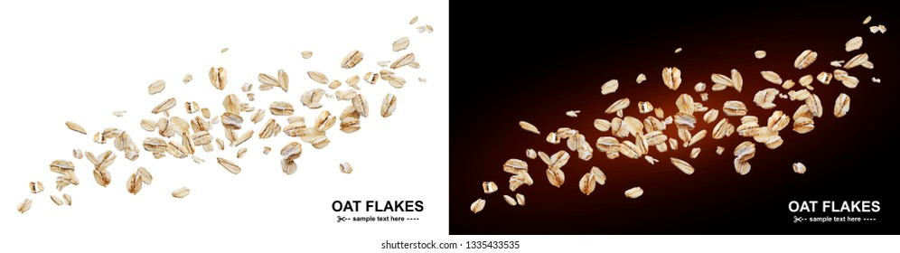 Flying oat flakes isolated on white and black backgrounds. Falling oats