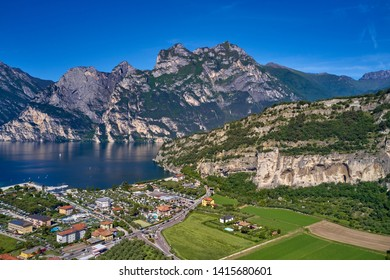 Flying on drone, aerial view of the city of Riva del Garda, Lake Garda. Italy.