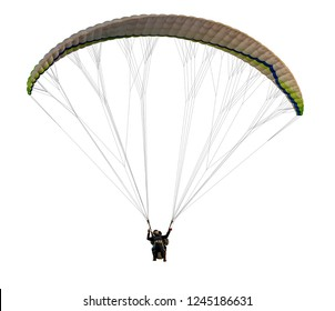 flying on paraplane on white background, isolated
