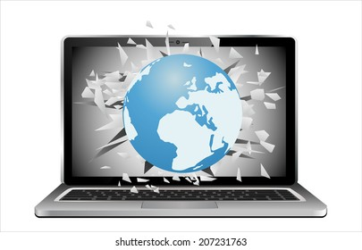 Flying out of a broken laptop computer screen-globe isolated on white background