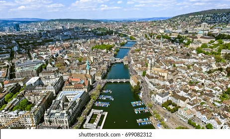 Flying over the City of Zurich in Switzerland Aerial View Photo feat. Limmat River, Bridges and Famous Landmarks