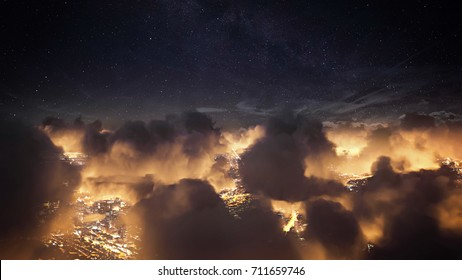 Flying over the deep night clouds with dark sky. Flight through moving cloudscape over night city lights. Perfect for posters, background, digital composition.