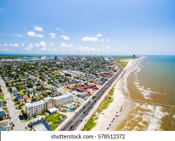 flying over Galveston Sea Wall and Beach